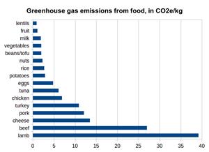 """Datos: Grupo de Trabajo Ambiental, """"guía para el consumo de carne con el cambio climático y la salud"""", 2011"""