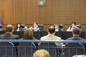 Judge Miguel Ángel García Argúello during the reading of the ruling
