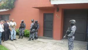 Outside Flores' house in an exclusive zone of the capital