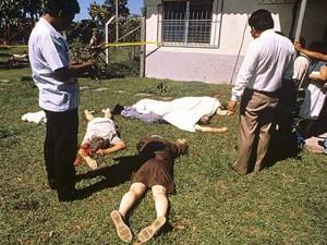 escena de la matanza en los jardínes de la residencia jesuita en la Uca
