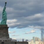 The Statue of Liberty and New York skyline